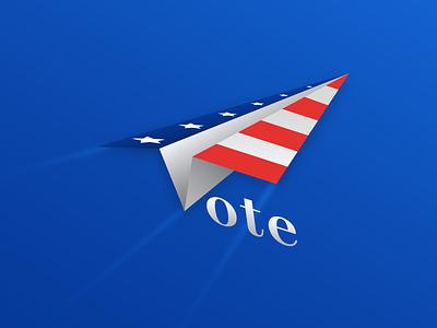 Vote! airplane america usa vote typography simple clean illustration