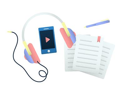 Turn my headphones up texture illustrator vector youtube headphones flat simple clean illustration