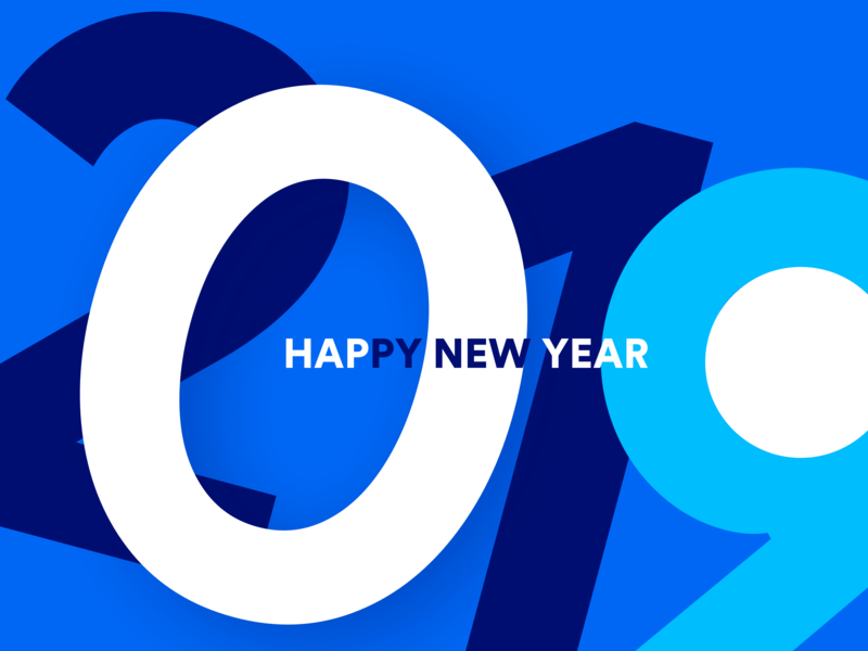 Happy New Year! design new year 2019 typography 2019