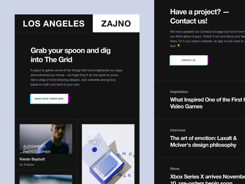 Zajno newsletter: Interstellar or instant caller? blue noise glitch unconventional layout fashionable progressive product design studio inspiration brutal flat poster web design zajno technology newsletter digital creative art design agency