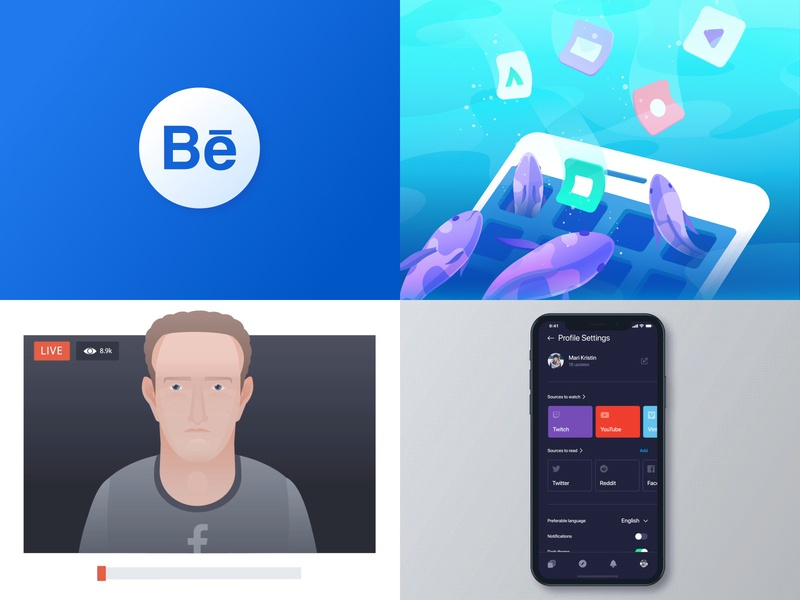 Top 4 of 2018 minimal flat logo illustration identity clean art experimental mobile app branding 3d 2d dark bright colors futuristic technology web design ux ui zajno