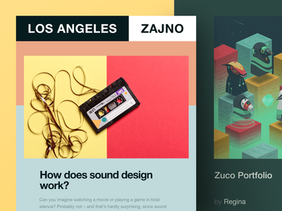 Zajno Newsletter #6: How does your design sound? bright colors abstract solution plastic pollution music production sound design design inspiration zajno ui ux technology share newsletter music email digital creative brand art design agency