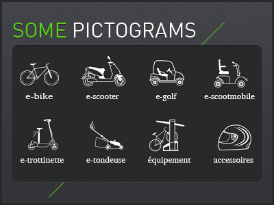 Product pictograms bike scooter accessories golf mower