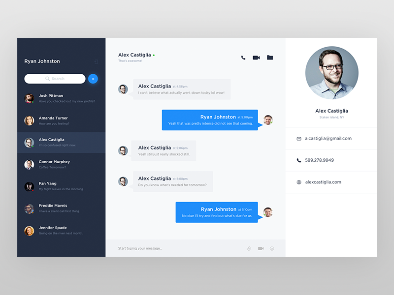 Messenger Concept by Matthew Jessell on Dribbble
