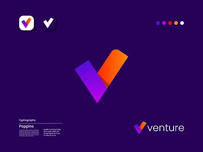 Modern V latter logo design designer color minimal flat modern latterlogo vlatter motion graphics 3d animation ux vector ui logo illustration icon graphic design design branding app