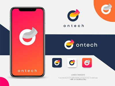 Ontech Logo Design | Abstract Logo Design simple logo technology logo logo for sell modern logo minimalist minimal vector vector logo logos letter logo logo illustration graphic design design company logo business logo business branding abstract logo