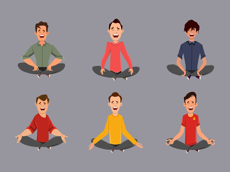 Different man characters relaxing meditation or doing yoga