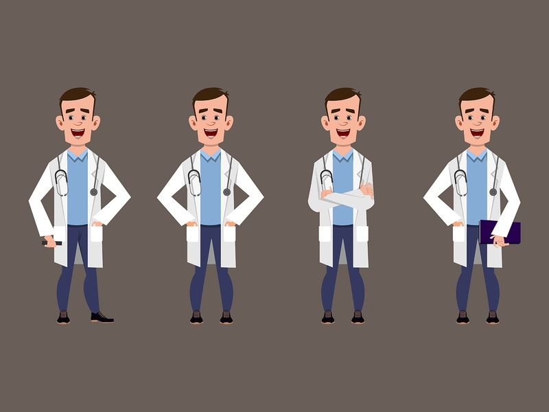 doctor cartoon characters medical staff pose concept set pose emotion expression facial different happy human face worker meditation yoga relax cartoon character boy young medical hospital