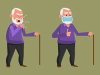 old man coughing and wearing protective face mask sanitizer disinfection hygienic cleaning sanitary gel hygiene protection liquid washing wash care clean safety healthy person health medical man