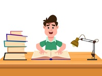 Cute boy study in table exam learn sitting knowledge reading question thinking child happy study book school animation motion video cartoon design character boy