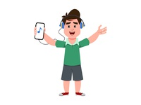 Cute boy listening music listening music expression young emotion avatar thinking child happy study book school animation motion video cartoon design character boy