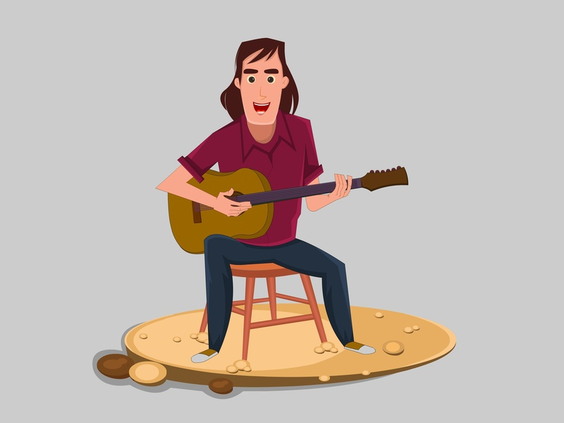 young Guitarist Singer a song playing chair sitting man song singing instruments musical rock guitarist electric guitar acoustic music animation character cartoon