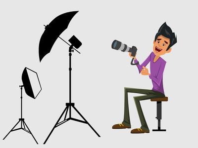 Photographer in his studio with equipment vector 2d illustration illustration character design flashlight lens studio photographer spotlight boy cartoon character camera light
