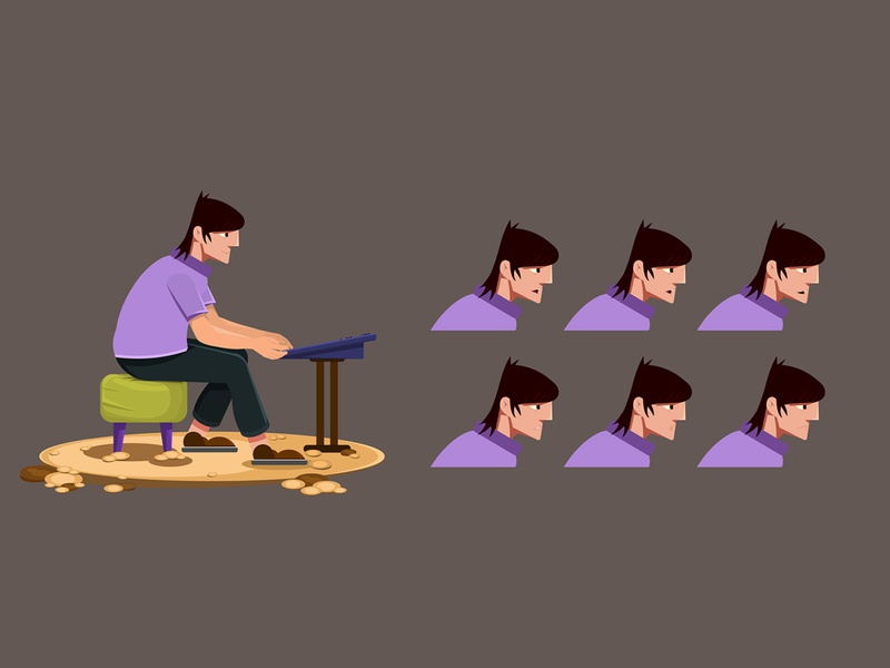 musician sitting in chair and playing keyboard design cartoon digital art character illustration character design animation