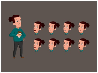 Young Man Drinking Coffee boy Cartoon  Character