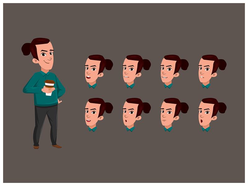Young Man Drinking Coffee boy Cartoon  Character design illustrator drawing vector cartoon character illustration character design animation