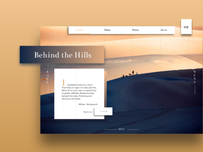 Behind The Hills typography landscape gradient clean minimal webdesign