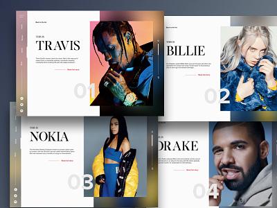 Musicmag webdesign ui layout clean article hip hop blur minimal music