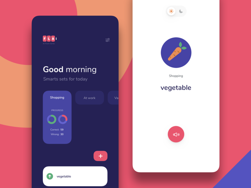 Flashcards with AI suggestions flashcards product design mobile
