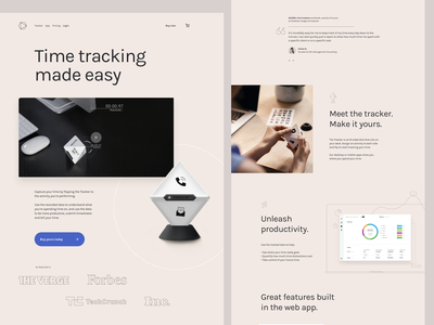 Timeular homepage web clean minimal figma home page landing page product page product time tracking