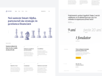 SmartAlpha homepage layout design knight chess elegant font clean landing page homepage accoounting