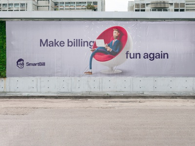 Smartbill billboards accounting billboard design branding design accountant mascot friendly branding