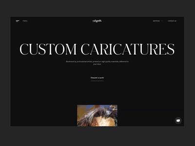 Service page - caligrafik.art landing page design ui animation webflow animation illustration service caricatures elegant typography typography large type clean horizontal scroll artsy dark