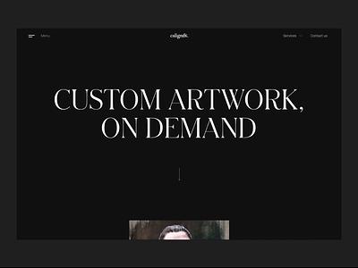 Main menu - caligrafik.art hamburger menu typography dark theme webflow animation elegant typeface minimal