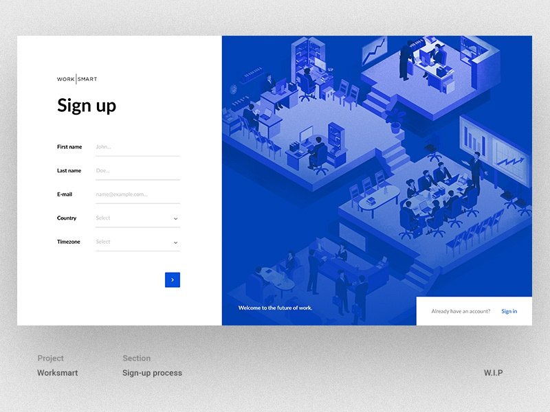 Sign-up process WIP onboarding register signup