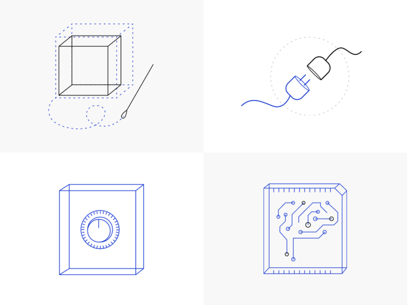 Logicluster illustrations vector artwork website simple icon ui vector clean artificial intelligence line minimal illustration