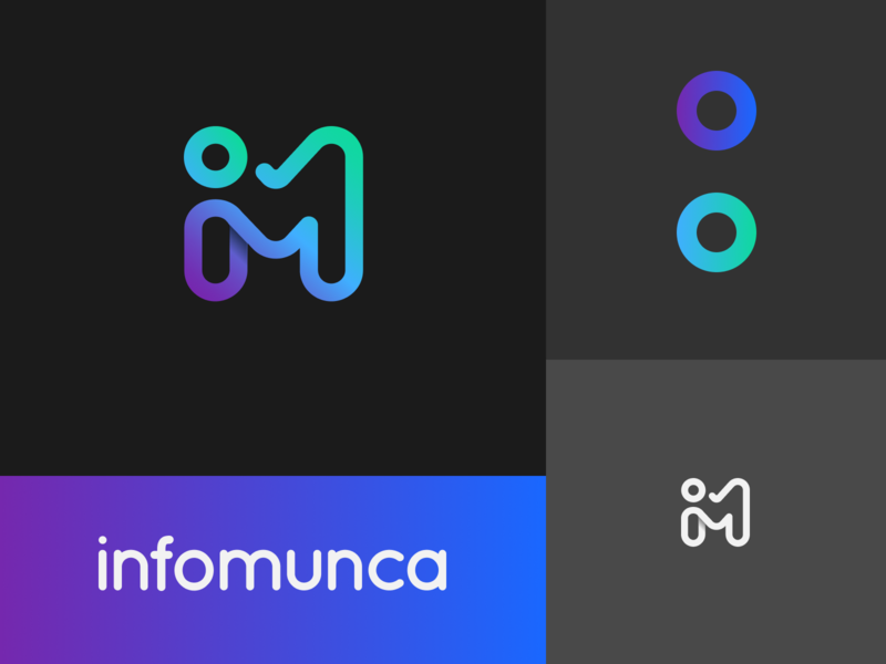 Logo design for infomunca.ro wordmark colorful logo vector clean branding logo symbol mark gradient recruitment design