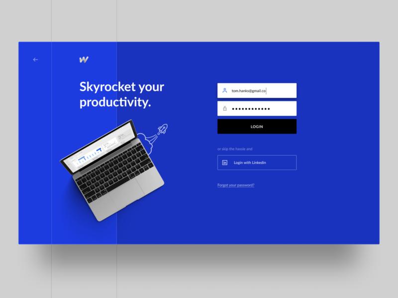 Worksmart Login design ui productivity laptop rocket minimal cold blue sign in login