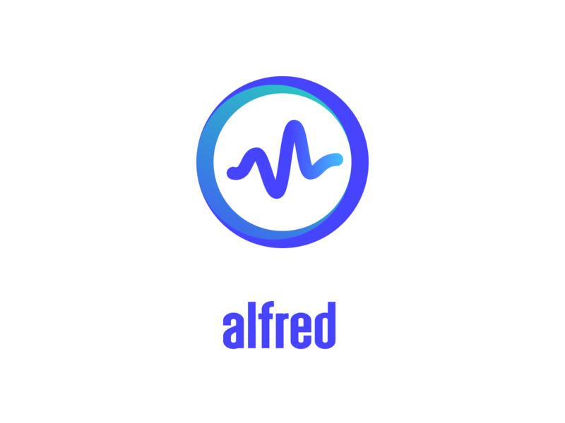 alfred AI design web app icon minimal vector symbol clean modern virtual assistant gradient artificial intelligence logo animation brand logo
