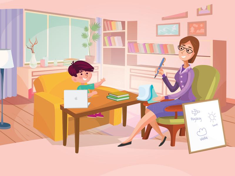 Private tutoring children young pupil kid child livingroom room student teacher language private lessons tutoring illustration