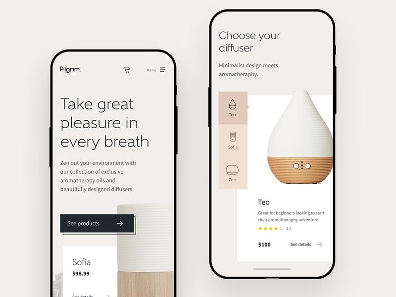 Pilgrim Mobile Homepage home lifestyle clean minimal shop design ui online shop homepage
