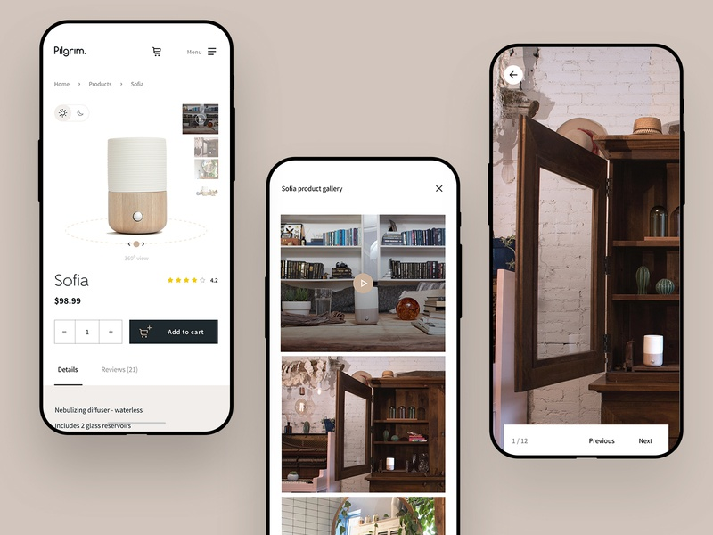 Pilgrim - product image gallery design ui minimal clean visualization image gallery product shop store online