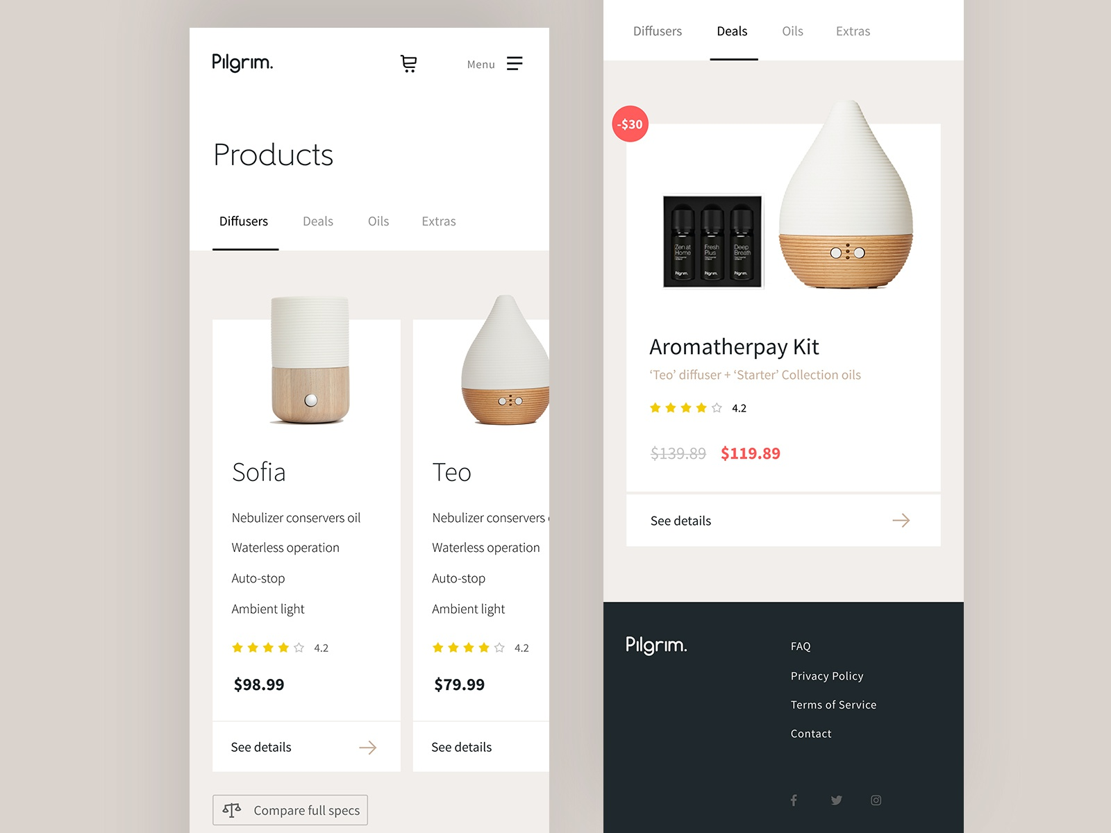 Pilgrim product listing