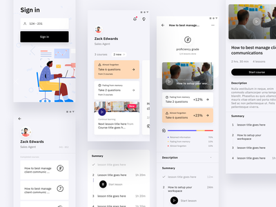 Skillery - a new app for on-the-job training training center illustration visual design ux ui figma tutorial course video training teaching