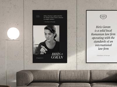 Office poster mockup for Biris Goran wordmark branding design typography clean branding logo lawyer logo law firm lawyer