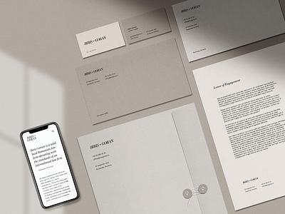 Stationary for Biris Goran minimalist law firm lawyer branding logo visual design stationary design clean print business card stationary