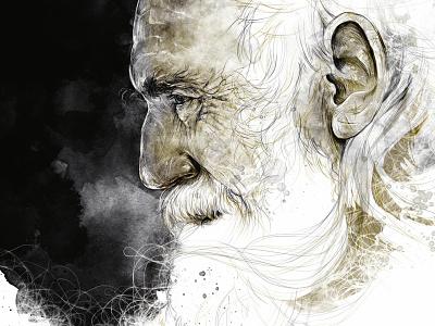 Humans human portrait art head oldman old portait wacom tablet digital handmade paper ink illustration