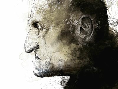 Humans angry old man head human portrait art portrait black wacom tablet handmade paper digital ink illustration