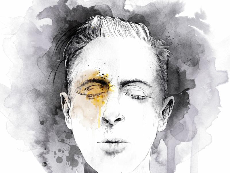 Humans young man head human portrait art portrait illustration art book black wacom tablet handmade paper digital ink illustration