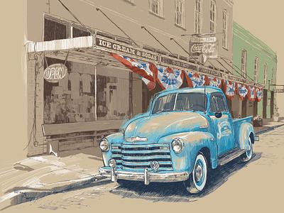 American Retro hand made color book blue black wacom tablet handmade paper digital ink illustration