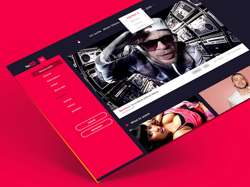 Concept Youtube flat dark concept redesign video player ui web design user interface youtube