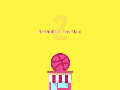 2 Dribbble Invites illustration invite invitation dribbble
