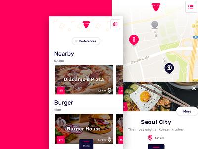 Veato interface list swipe map food ux ui ios mobile