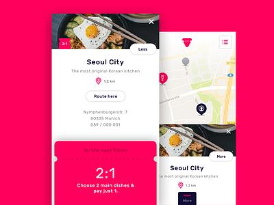 Veato Details map location card food voucher ios app ux ui