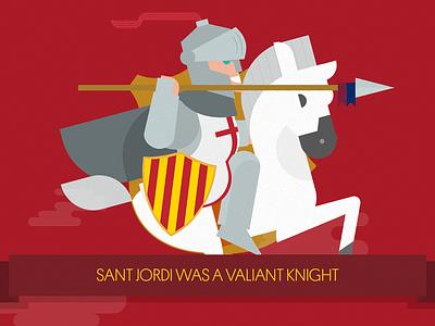 The legend of Sant Jordi: The Knight illustration flat