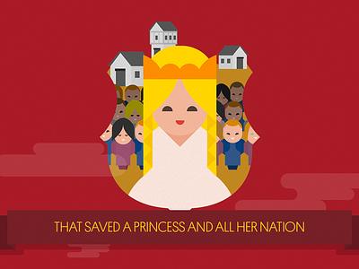 The legend of Sant Jordi: The Princess illustration flat